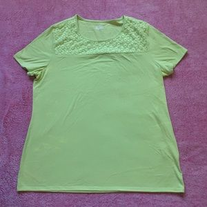Neon Green Blouse with lace flower design